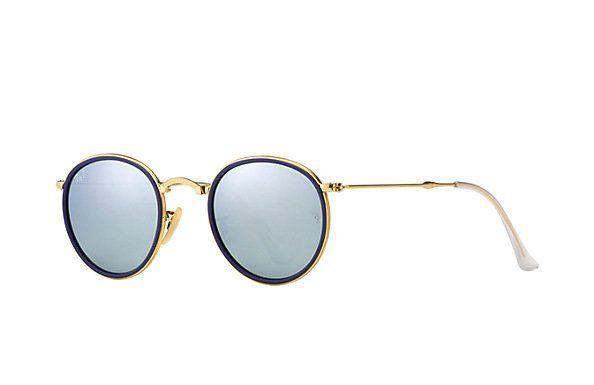 Goudkleurige Round Metal Folding zonnebril met zilver gespiegelde glazen. Ben jij degene die dit opvallend model durft te dragen?