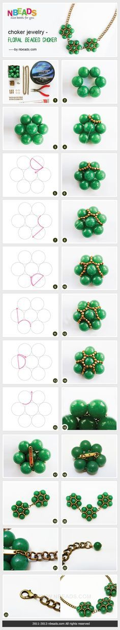 Nice step by step pictorial instructions for hexagon beaded design. I'd make them into earrings with smaller wood colored beads instead of the green ones and a seed bead with a gunmetal finish.
