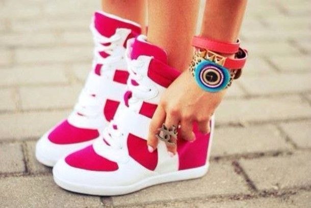 Cute Heels for Girls | ... high top pink gym white girly girl cute high heels heel hot pink