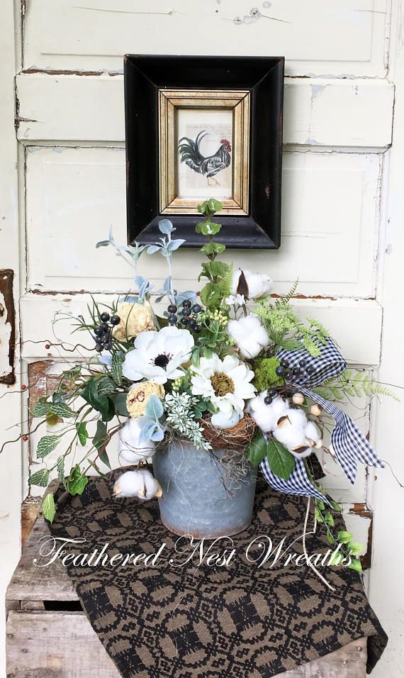 Summer Door Basket Small Wreath Farmhouse Wreath Farmhouse Chic Decor Cotton Boll Decor Summer Wreath Wall In 2020 Wandkorb Haus Dekoration Dekoration