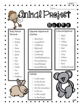 This writing project will allow ESL students to practice their vocabulary about animals in terms of habitat, body parts, and adjectives. They will also have to use the simple present tense of three verbs (to be, to have and to live) to describe their animal and to use the personal pronoun iT.