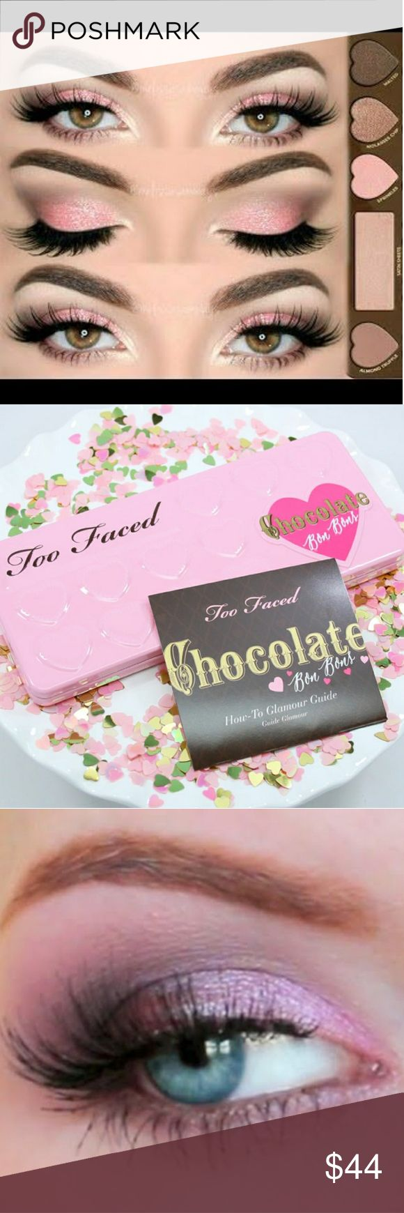 TOO FACED Chocolate Bon Bons Palette (Original) This palette features matte and shimmer eye shades in cool pops of color, brights, and beautiful neutrals. Hardly used i swatch 4 shadows looks like new no box. Too Faced Makeup Eyeshadow