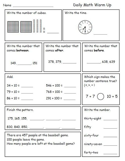 Math Morning Work for Second Grade Math morning work