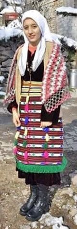 Traditional costume from Dursunbey (80 km east of Balıkesir).  Clothing style: rural, second half of 20th century.