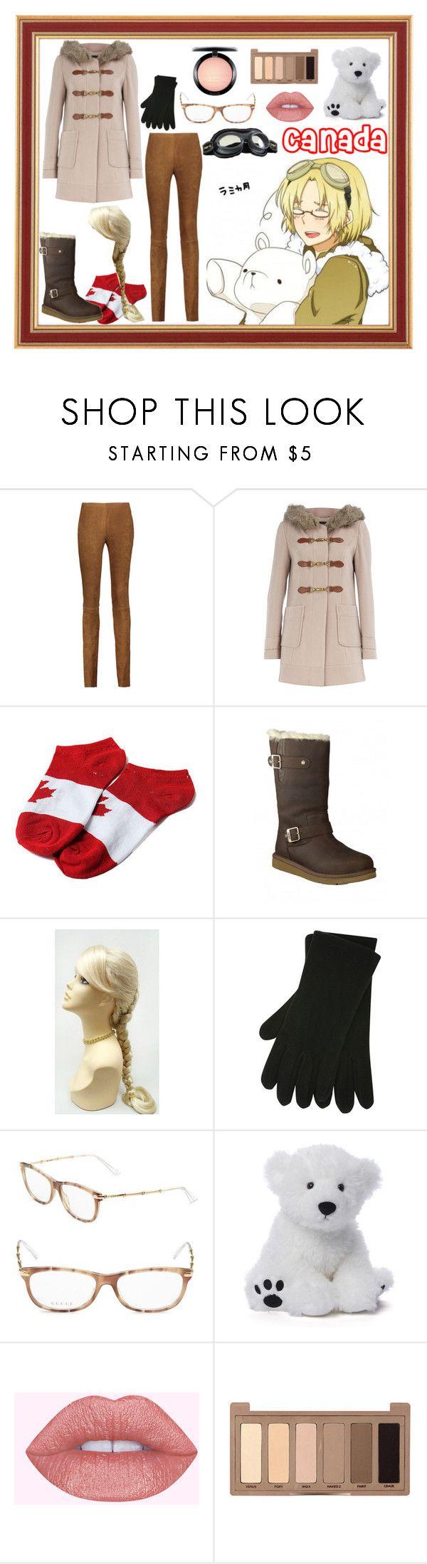 """Hetalia: Canada"" by mrs-edelstein ❤ liked on Polyvore featuring Cushnie Et Ochs, Dorothy Perkins, UGG Australia, M&Co, Gucci, Gund, Urban Decay and MAC Cosmetics"