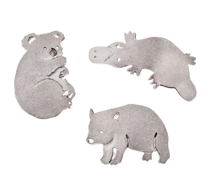 Brooch - Little Aussie WOMBAT, KOALA or PLATYPUS - Sterling Silver