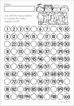 100th Day of School No Prep packet for Kindergarten. A page from the unit: Write the missing numbers 1 to 100