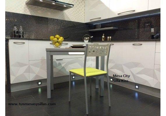 Mesa de cocina pequeña extensible City con cajón fondo 45 o ...