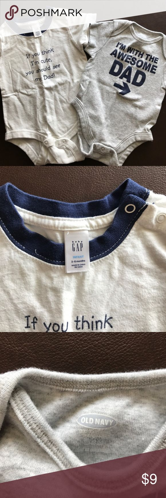 Two baby boy onesies- Baby Gap/Old Navy Two baby boy onesies. 1 Baby Gap 3-6 mo and 1 Old Navy 0-3 mo. These onesies are so cute for a little boy. Both are NWOT GAP One Pieces Bodysuits