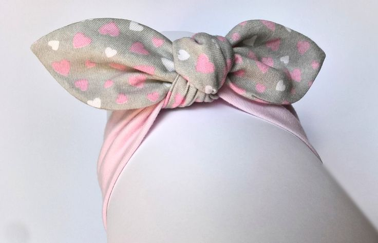 Opaska bawełniana pin-up róż szary  w serduszka - MadebyKaza - Opaski dla niemowląt