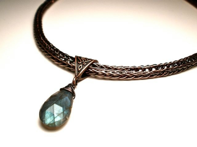 Labradorite Double Viking Knit Necklace in Earth Toned Copper- Aurora Borealis.