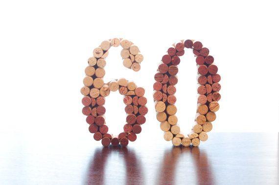 Upcycled Wine Cork Numbers (wedding table numbers, birthday, milestone) on Etsy, $25.00