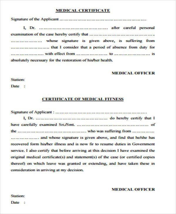Medical Certificate Certificate Format Doctors Note Template Doctors Note