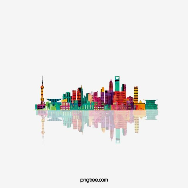 Colorful Shanghai City Building Silhouettes City Clipart Bright City Png Transparent Clipart Image And Psd File For Free Download Building Silhouette Shanghai City City Buildings