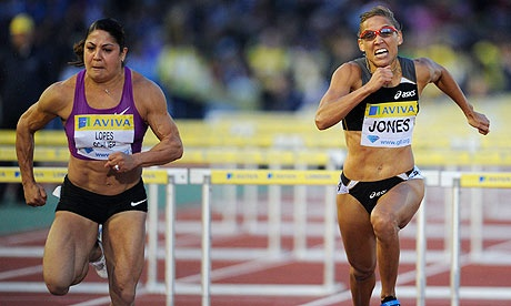 Priscilla Lopes-Schliep (CAN) and Lolo Jones (USA)