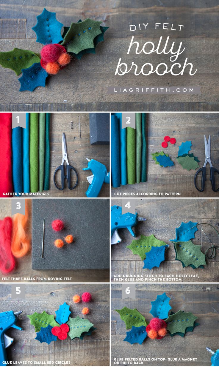 Make your own gorgeous felt holly brooch this Fall using this downloadable pattern and tutorial from handcrafted lifestyle expert Lia Griffith.