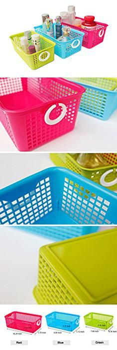Hard Plastic Storage Bins. Honla Perforated Plastic Storage Nesting Baskets/Bins Organizer with Little Handles-Set of 3-Hot Pink,Light Blue,Lime Green.  #hard #plastic #storage #bins #hardplastic #plasticstorage #storagebins
