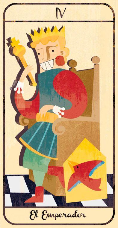 El Emperador: naipe de un Tarot infantil para niños pendiente de editar; La maqueta del mismo (un libro tutorial ilustrado cuya contraportada en forma de caja guarda en su interior las cartas) se puede visitar en el Museo del Tarot de Bélgica del coleccionista de Tarot Guido Gillabel. Autora Elena Catalán