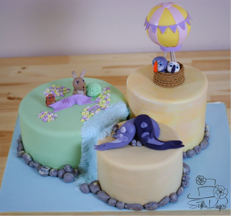 Christening cake, Puffin Rock. Søpapegøjernes ø Soffi's Kageri
