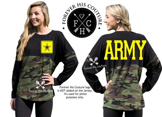 Army Girlfriend Pom Pom Jersey tee Army by ForeverHisCouture