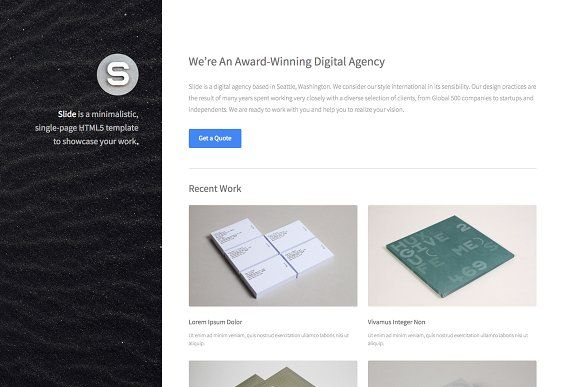 Slide One Page Html Template Website Template Design Template Design Templates