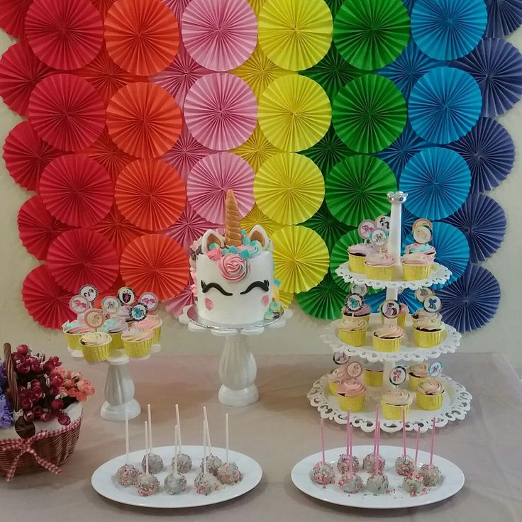 The rainbow backdrop and unicorn dessert table
