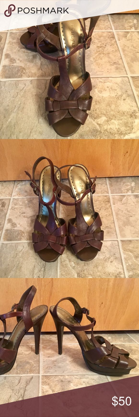 BCBGirls Brown Strappy High Heels These espresso brown strappy high heels by BCBGirls are a classic style that have only been worn a couple of times. BCBGirls Shoes Heels