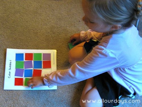 completing Color Sudoku Activity Bag #freeprintable from AllOurDays.com