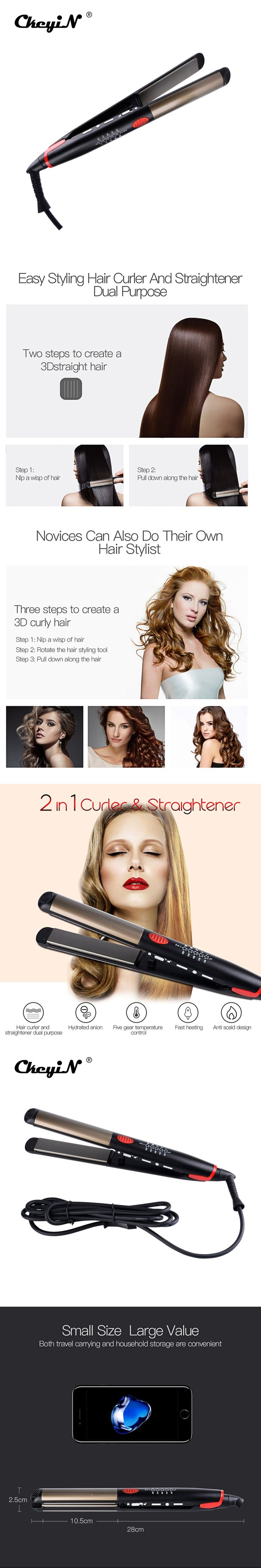 CkeyiN 2 In 1 Corrugated Curling Hair Electric Hair Straightener Crimper Fluffy Waves Hair Curlers Curling Irons Styling Tools