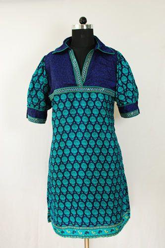 Exclusive Faux Crepe Printed Kurti with Shirt Collar.