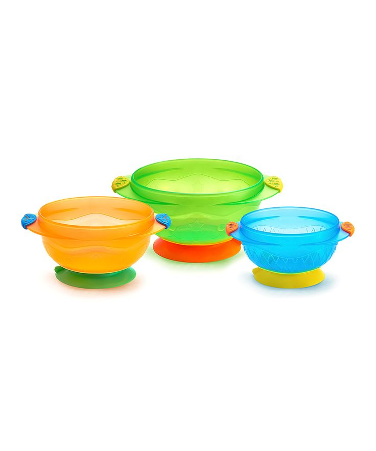 Orange Yellow & Green Suction Cup Bowls - Set of 3 | Baby ...