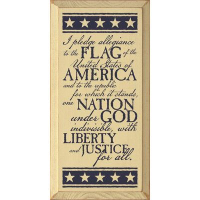 SawdustCity I Pledge Allegiance To The Flag Of The United States Of America Textual Art Plaque