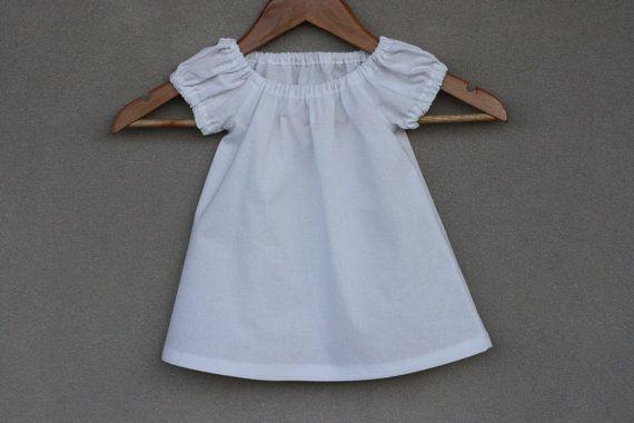 Toddler Dress  White Cotton  Girls Dress  by RainbowSparklesBlue