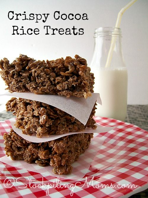 Gluten Free Crispy Cocoa Rice Treats are so easy to make and a yummy dessert! Made with Mom's Best Cereal, the kids (and adults)will love them. #glutenfree