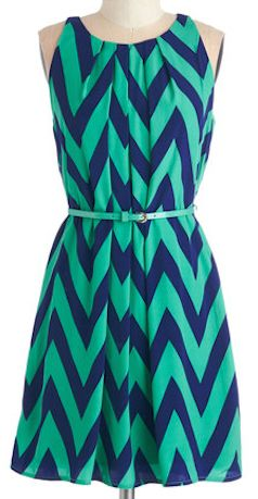 Green and navy chevron dress