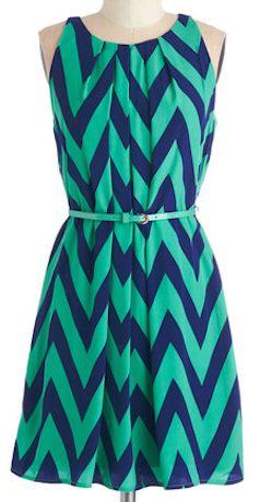 Green and navy chevron dress