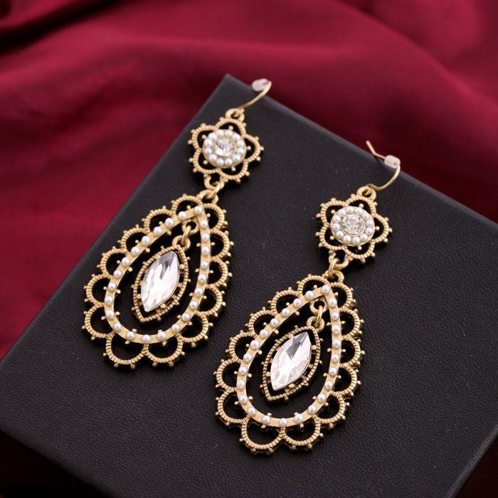 eski oymak Rhinestones damla küpe antika altın mücevher markası Isabel tarzı inci ve kristal çiçek telkari küpeler(China (Mainland))