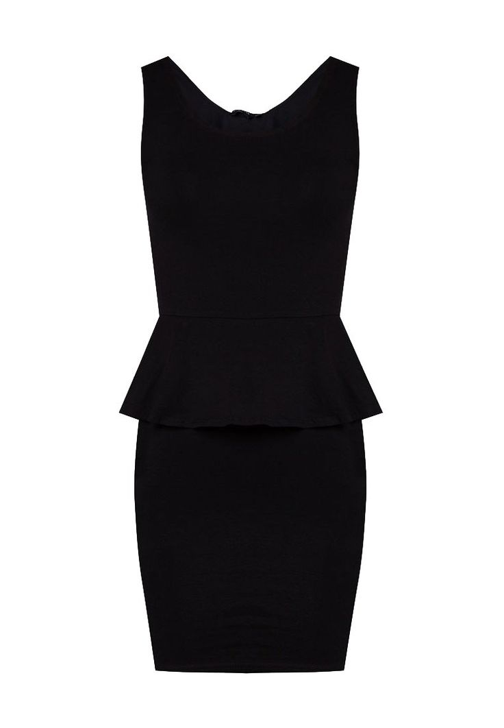 Sleeveless Peplum Bodycon Dress by New Look. Looks classy with this black peplum bodycon dress. Black dress is a must, this bodycon come with classic and elegance style, perfect for your evening occasion. Made from polyester and round neck, stretchable. http://www.zocko.com/z/JE9a5