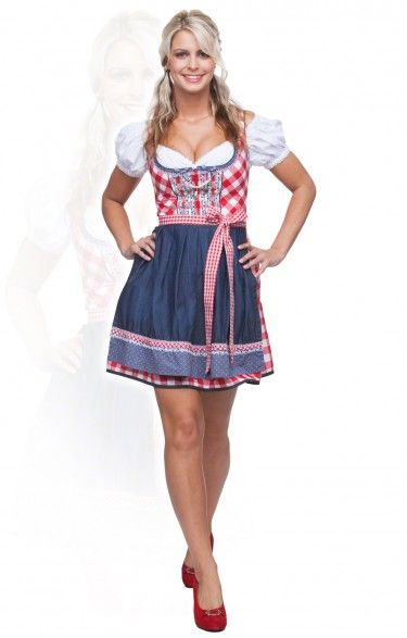Jeans dirndl dress mini 2pcs. - Ricky - red 50cm