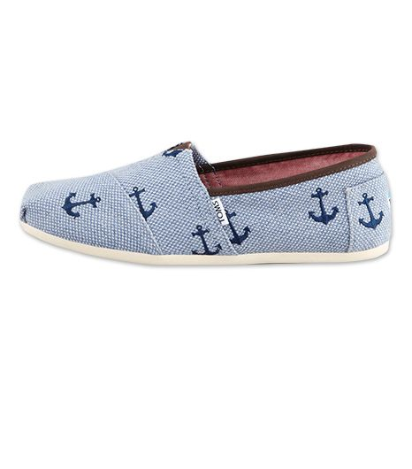 Toms nods to the season's nautical trend with the Anchor Embroidered Canvas Slip-Ons ($95); round out the look with a striped top and white skinnies.