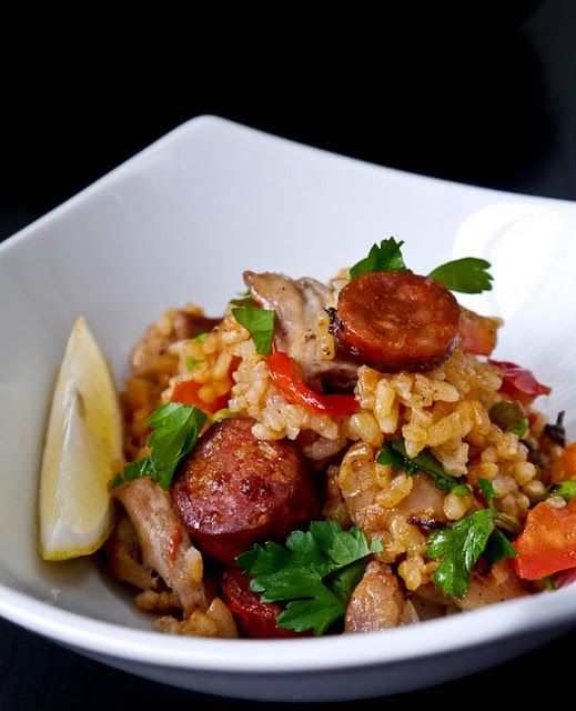 Paella with chicken and chorizo: Adapted from Gordon Ramsey's cookbook--Hellz yeah! :D