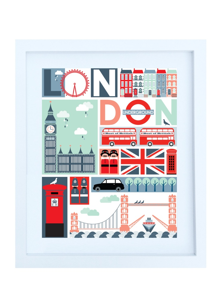 Quirky London Illustrative Print, 8x10 Poster. $20,00, via Etsy.