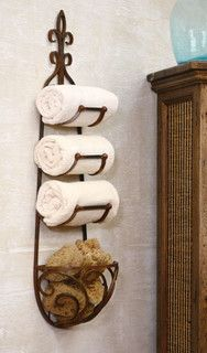Rusted Metal Towel Rack With Rounded Basket - transitional - towel bars and hooks - by Origin Crafts
