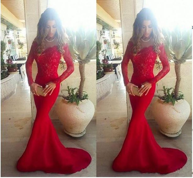 Sexy rouge dentelle robe de bal 2016 balayage Train Appliques sirène de soirée parti robes manches longues Sheer Sexy , Plus la taille robe formelle(China (Mainland))