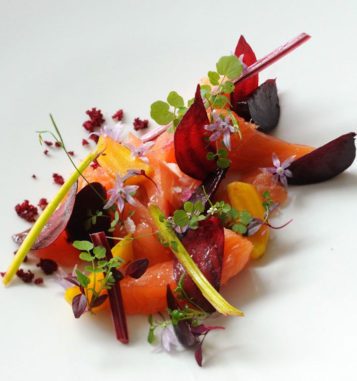 This plate packs a punch both visually and in terms of taste, with the earthy beetroot perfectly offsetting the tender cured salmon.