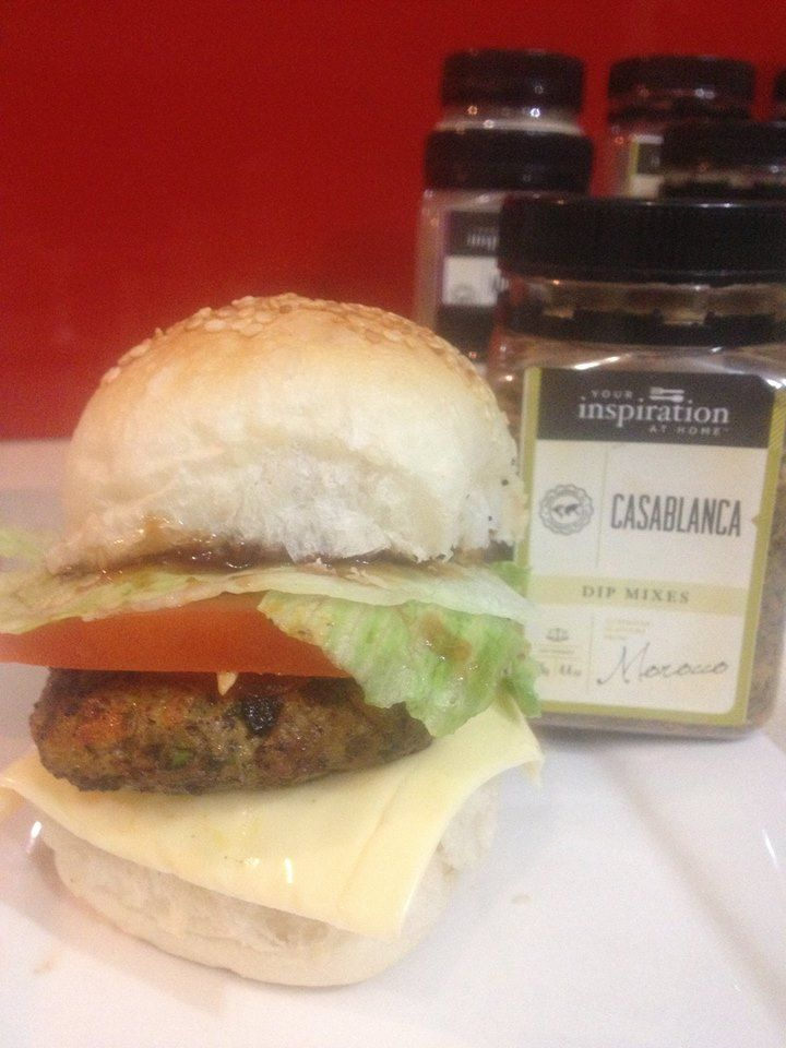 CHICKEN BURGER | GREAT FRIDAY NIGHT DINNER - Mix 500g Chicken Mince & 1 tablespoon of YIAH Casablanca Dip Mix together & roll into burger shape - Fry until cooked through - Add your choice of fillings. ENJOY!