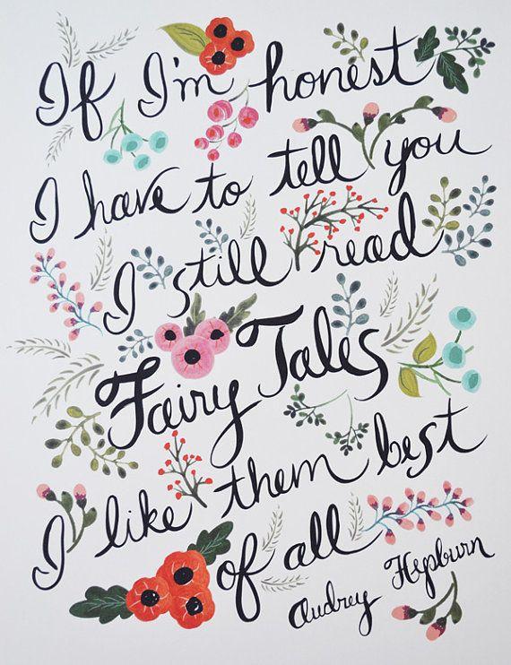 Audrey Hepburn Quote Wall Art  85 x 11 Fairytales by LOFTLIFEPRESS, $22.00
