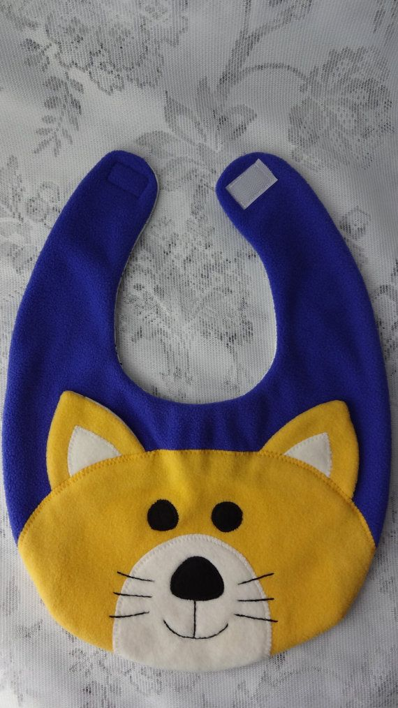 Cat Bib, Infant Baby Bib, Animal Reversible Fleece Bib, Animal Bib, Baby Shower Gift, Baby Bib, Newborn Gift, Newborn Toddler Bib