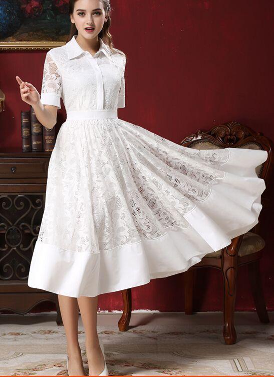Бесплатная доставка звезда стиль досуг отложным воротником с коротким рукавом кружева шифон длинные dress whiteкупить в магазине Sunny  Zhu's store(  Exquisite  High-quality  Fashion) наAliExpress