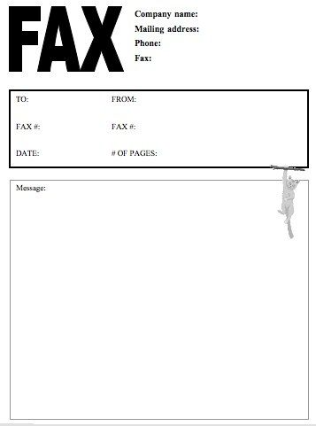 fax template for word